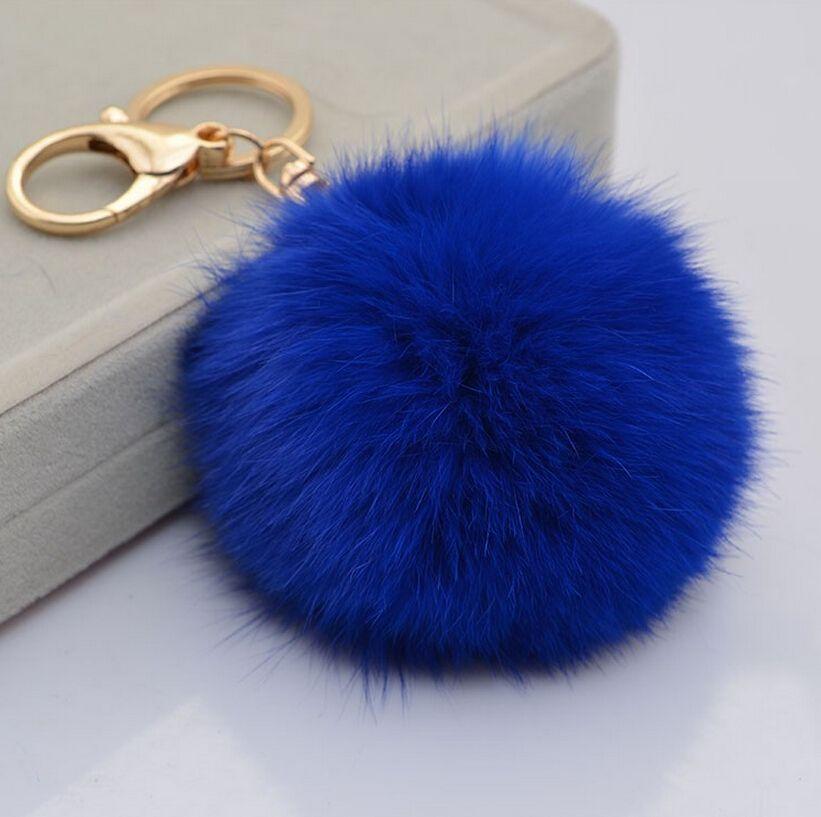 حقيقي أرنب فرو الكرة سلاسل المفاتيح الأزياء المفاتيح المرأة حقيبة محفظة سحر سيارة مفتاح سلسلة حلقة حقيبة الملحقات حلية