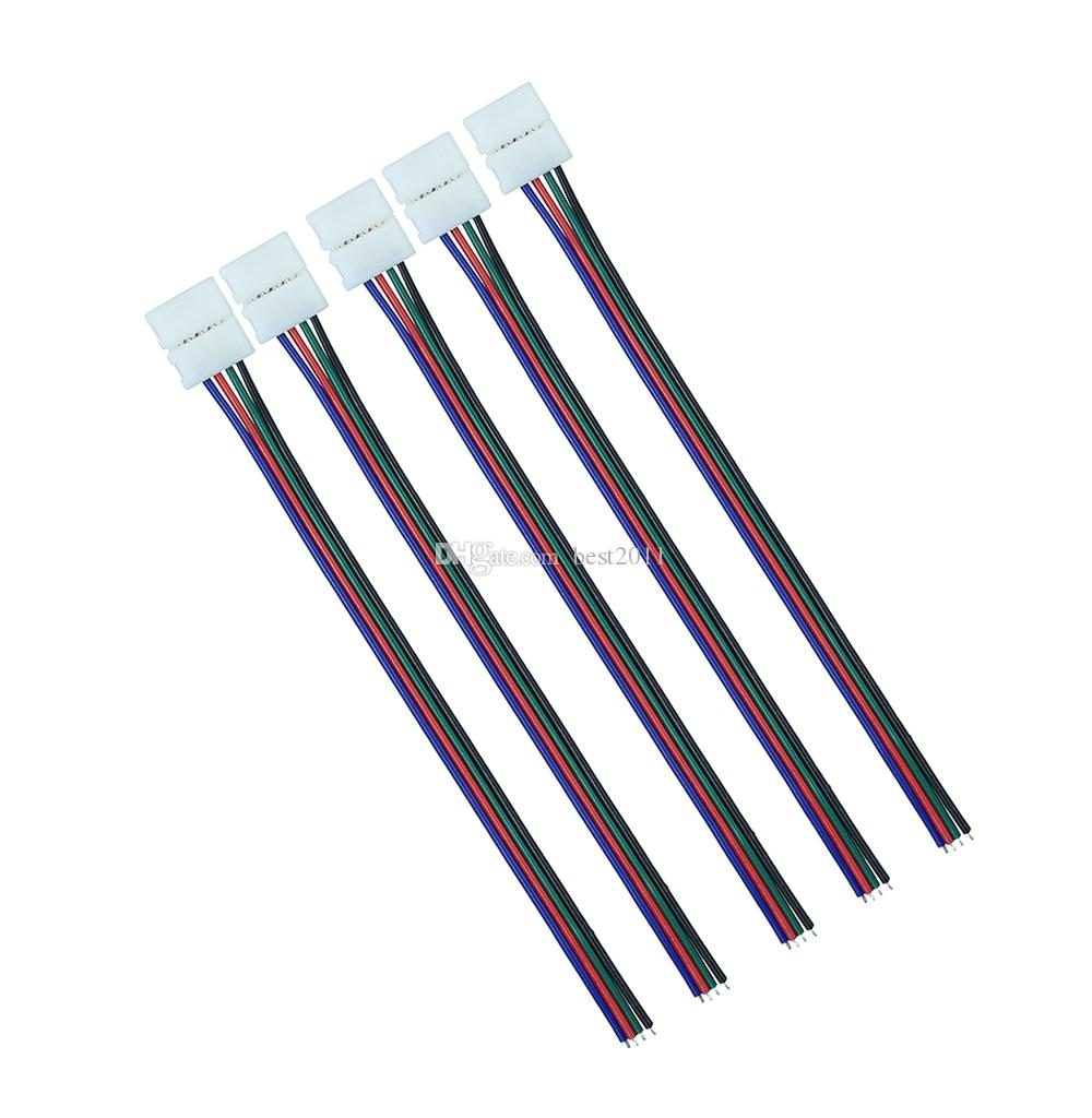 10mm 4pin RGB Led Strip Connector wire Clip Cable For 5050 RGB LED Strip Ribbon Tape