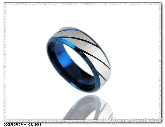 Fashion Cool Party Rock Punk Rings For Men Stainless Steel Blue Ring Steel Jewelry For Men Women Unisex