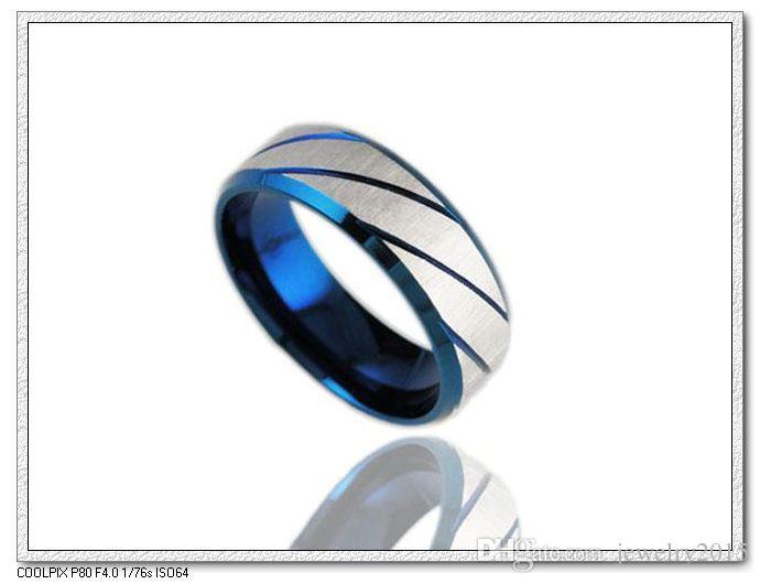 Moda Cool Party Rock Punk Rings para hombres acero inoxidable anillo azul joyería de acero para hombres mujeres unisex