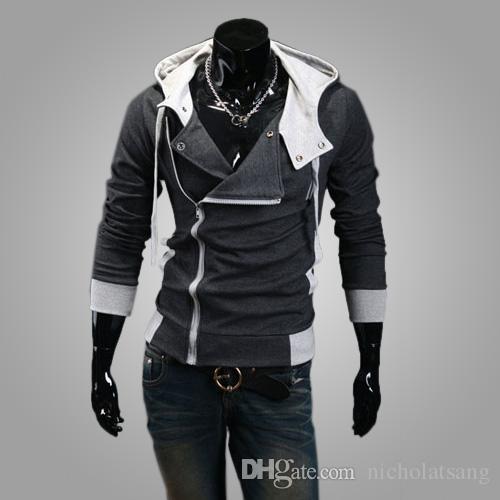 Venta caliente 2016 nuevos estilos Otoño e invierno de los hombres Sudaderas con capucha negras Chaqueta con capucha con cremallera Zip de los hombres coreanos