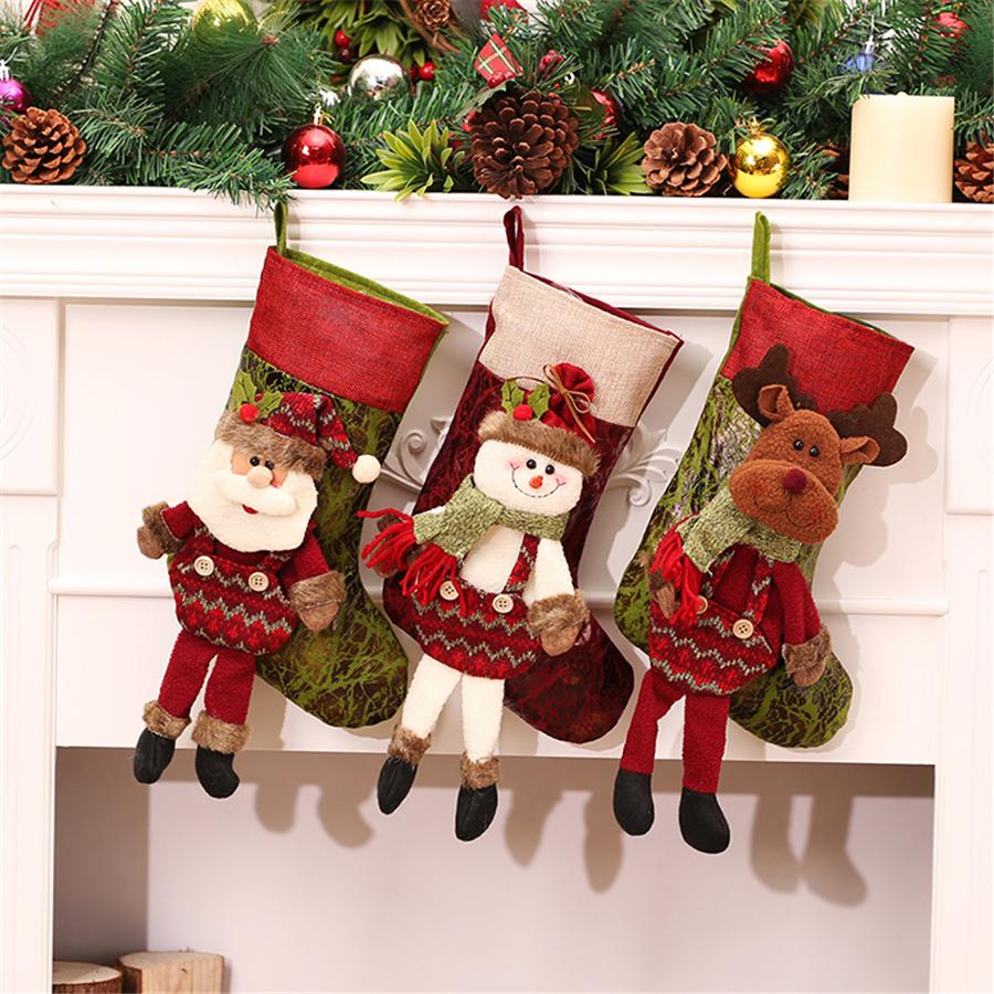 personalized christmas stockings red canvas reindeer bags with leg candy gifts filler socks for christmas tree decorations cheap xmas decorations cheap xmas