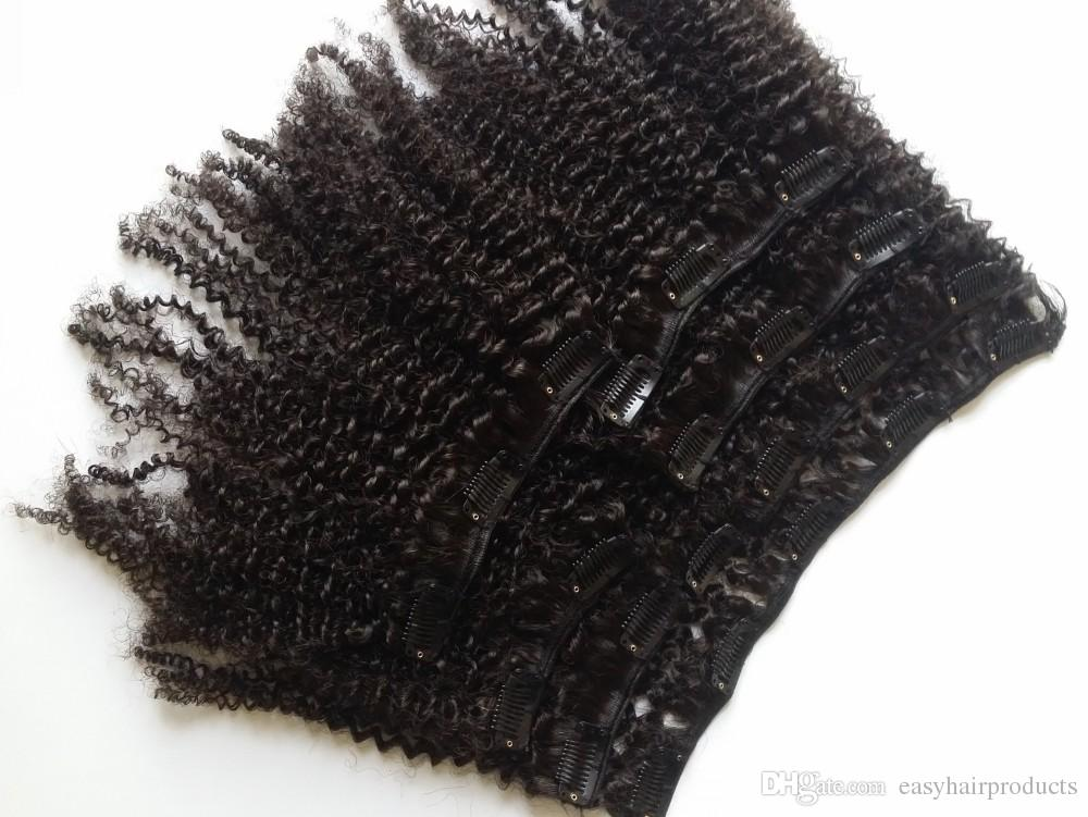 Clip In Hair Extensions Natural Black Peruvian Human Hair Afro Kinky Curly Clips Ins For African American Black Women G-EASY