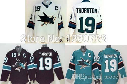 first rate ea197 eda37 San Jose Sharks Captain 19 Joe Thornton Jersey Teal Home Black Alternate  White Away Stitched Cheap Mens Ice Hockey Jerseys 2015 Turn Back