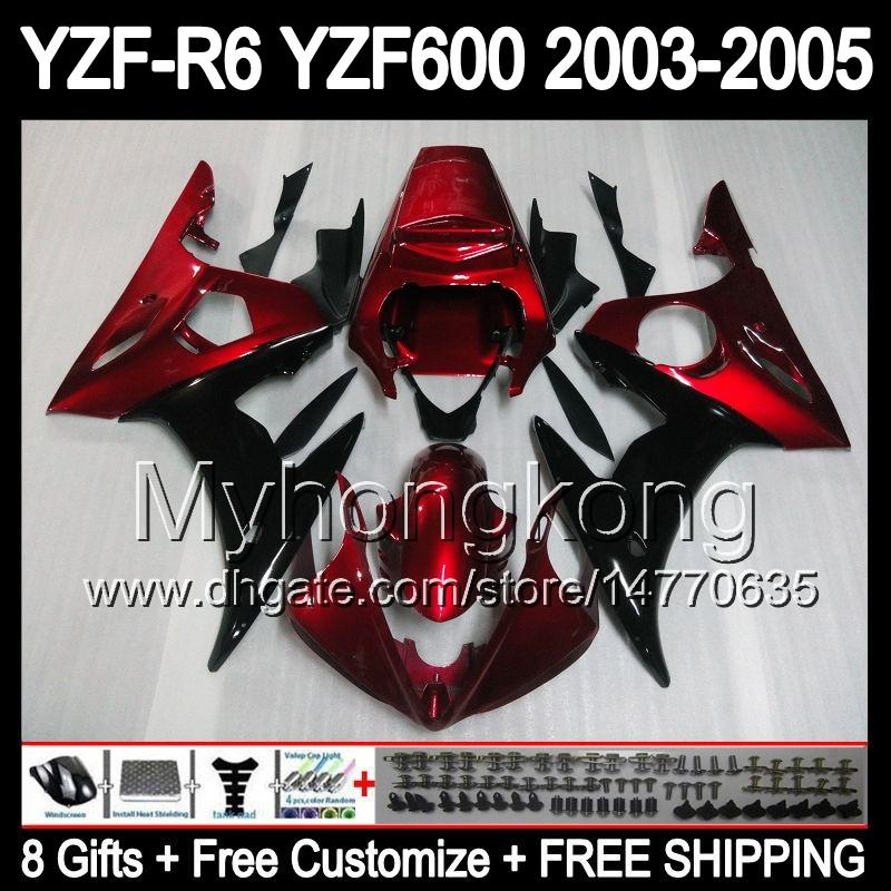 8compensas + Carrocería Rojo negro Para YAMAHA YZFR6 YZF600 R6 03-05 YZF-R6 YZF 600 YZF R 6 YZF R6 03 04 05 2003 2004 2005 Kit de carenado negro rojo oscuro