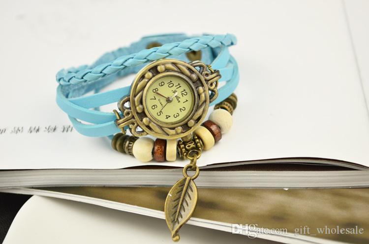 Women Leather Wrist Watch charm Bracelet Retro Vintage Owl Pendant Weave Wrap Quartz