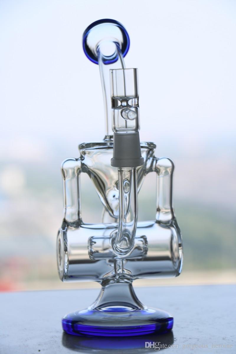 Recycler increíble vórtice Recycler Glass concentró aceite Plataformas dabbers aceite de cristal bongs de cristal con el neumático perc 14,5 mm tamaño de la junta
