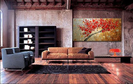 Cherry Blossom Artwork Wall flower Landscape handmade Oil Painting On Canvas Palette Knife Modern Painting Home Decor Wall Art,DH01