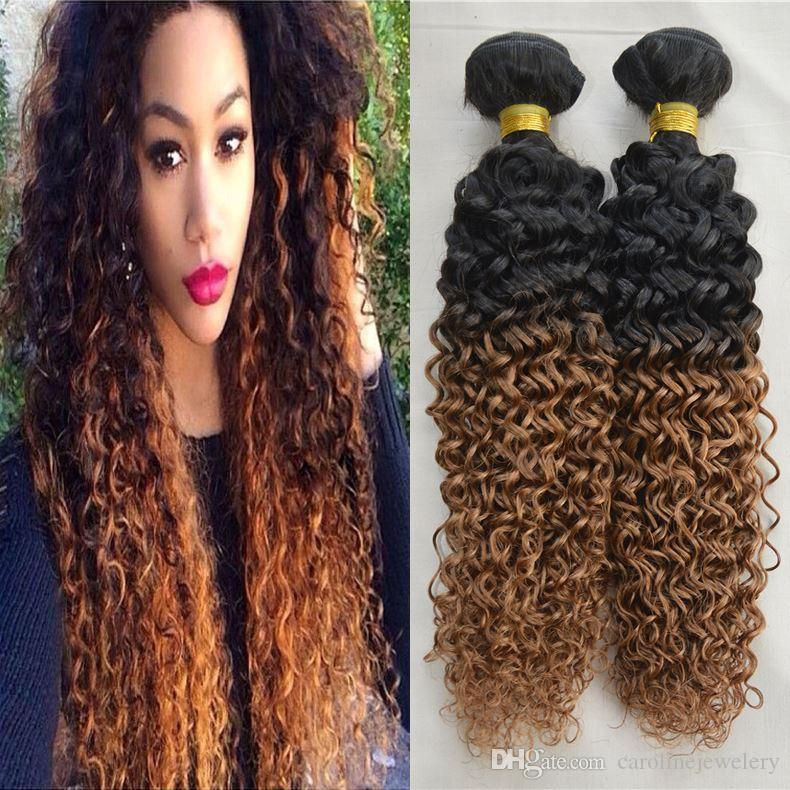 Wholesale Hair Weave Ombre Curly Natural Black Hair With Auburn Red