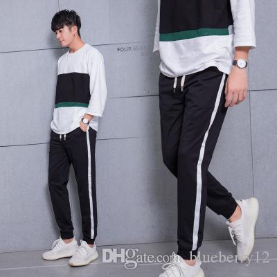 2018 Autumn Korean Style Men Casual Pants Leggings Jogger Pants Side White Striped Line Printed ...