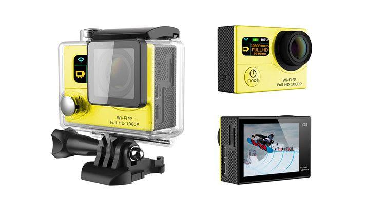 Герой 4 стиль G3 Wifi действий камеры двойной экран 1080P FHD Спорт DV DVR G3 водонепроницаемый 30M 170 широкий угол 12MP