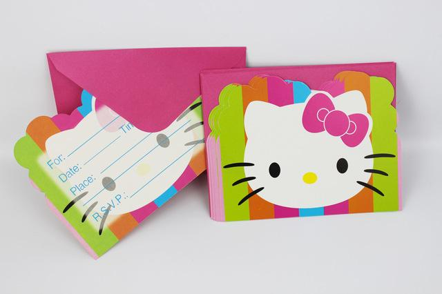 Wholesale Pack Hello Kitty Happy Birthday Party Decoration Kids Boy Girl Event Supplies Favors Invitation Cards Free Online Greeting Card