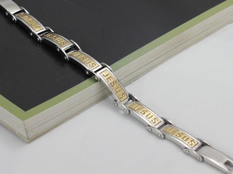 Ny 2014 Fashion Gold Jesus Armband Bangles Rostfritt stål Män Smycken Julklapp
