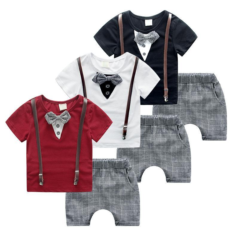Boy braces bow tie Suits 2015 new children bow tie Short sleeve T-shirt + lattice shorts Suit baby clothes B001
