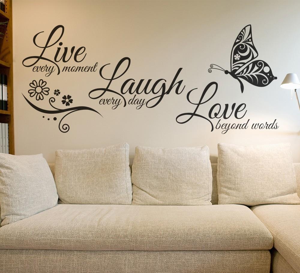 Live Laugh Love Butterfly Flower Wall Art Sticker Wall
