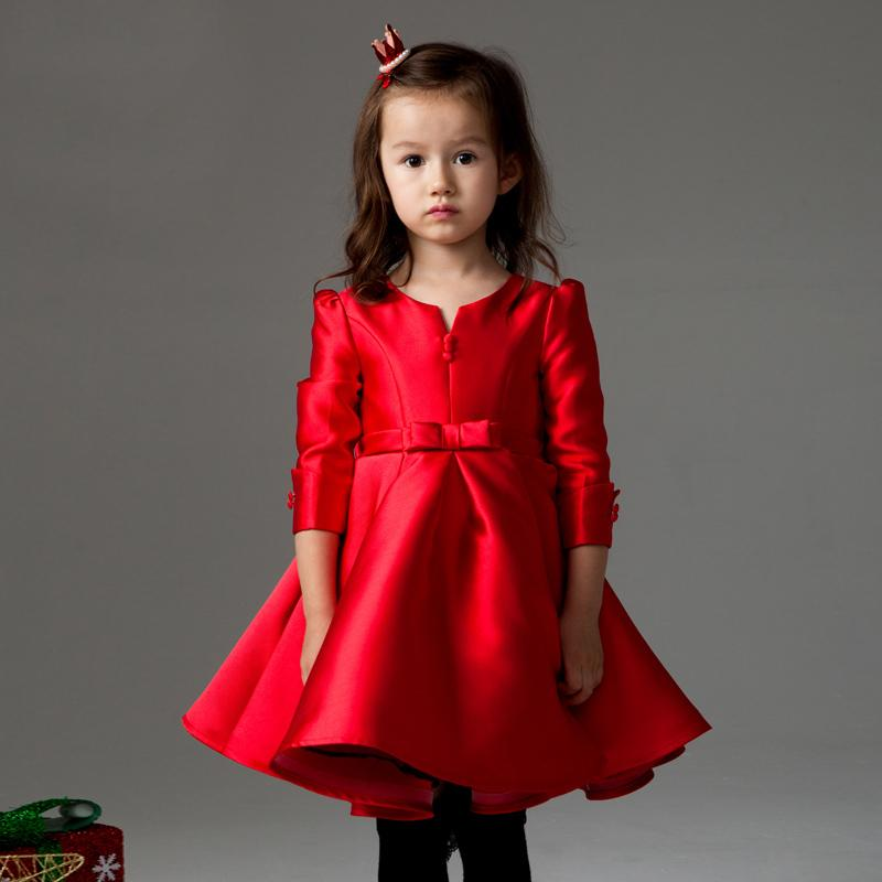 3 4 sleeve red dress girls