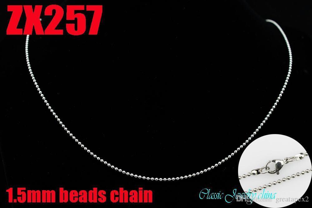 KUNAFIR promozione venditore catene in acciaio inox perline collane layd lotto CALDO alta qualità 1.5mm catena a sfere 16 '' - 34 pollici ZX257