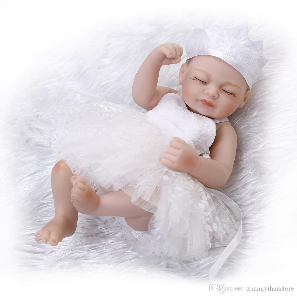 Full Body Silicone Reborn Baby Dolls Toy Mini Newborn Girl Bibies  Collectable Doll Birthday Gift For Child Kid Shower Bath Toy Clothes For 14  Inch Baby ...