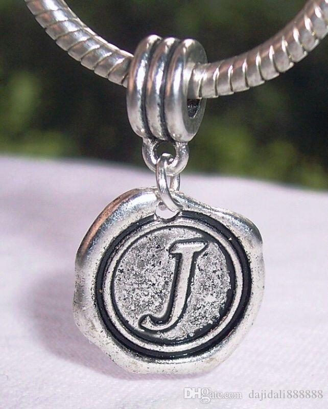 Caliente ! 100 piezas de plata antigua de una sola cara Letra