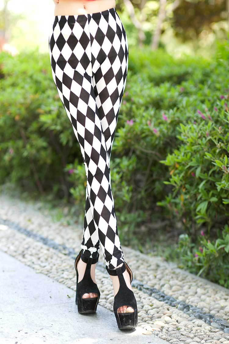 European and American foreign trade new black and white diamonds diamond - shaped chequered pants milk silk leggings wholesale