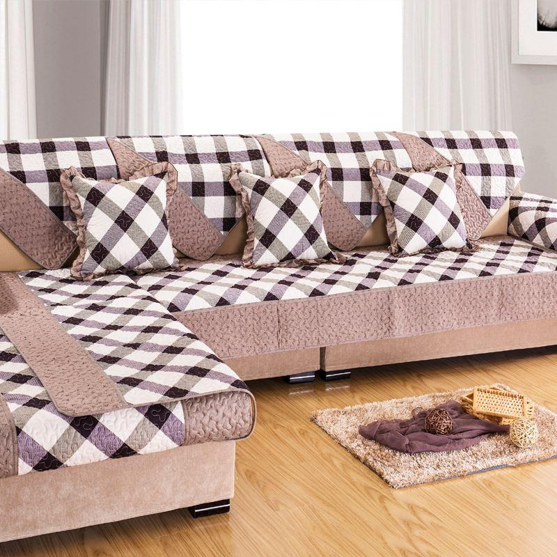 Grey Plaid Sofa Cover Towel Couch Cover For Sectional