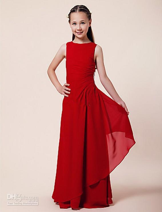 Greek Red Little Girls Long Dresses Floor Length Kids Gowns Junior ...