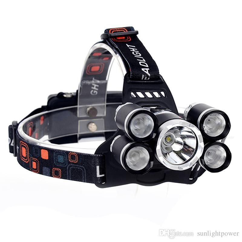 5 LED Headlight High Power Headlamp Rechargeable head light 12000 Lumens LED XM-L T6+4XPE head torch +charger