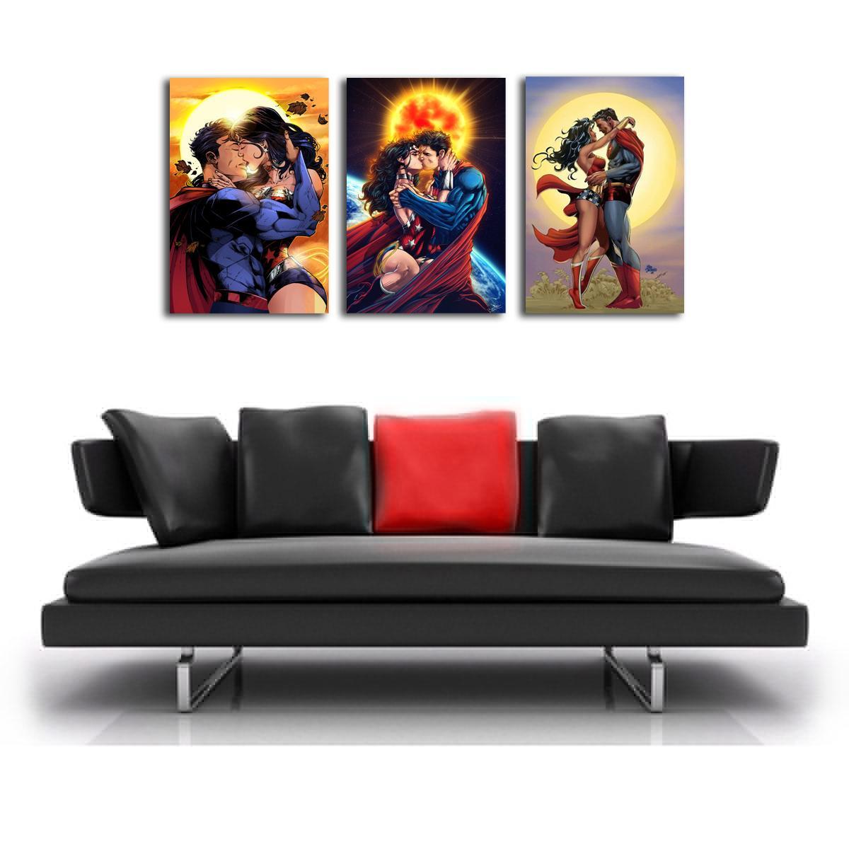 Süpermen Ve Wonder Woman 3 Parça Ev Dekorasyonu Hd Baskılı Modern Sanat Boyama Tuval çerçevesiz çerçeveli