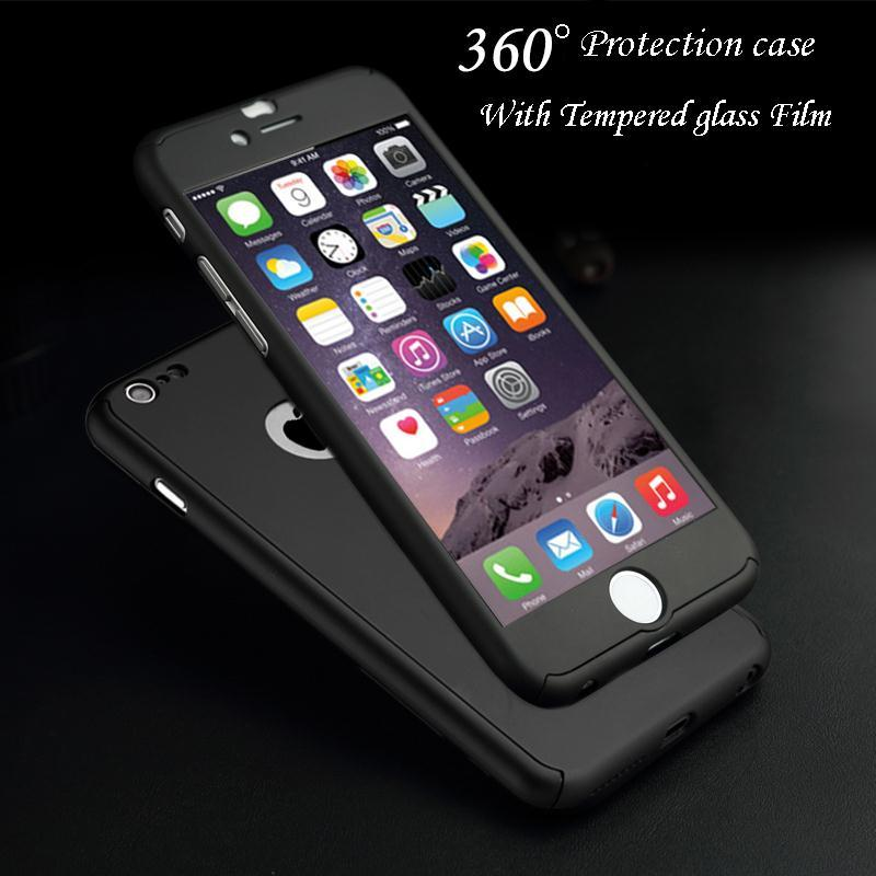new product 60ae5 0bd64 360 Degree Full Body Protection Cover Show Logo Case For iPhone 5 5S 6 6S 6  Plus 6S Plus Luxury Armor Cases W/ Tempered Glass