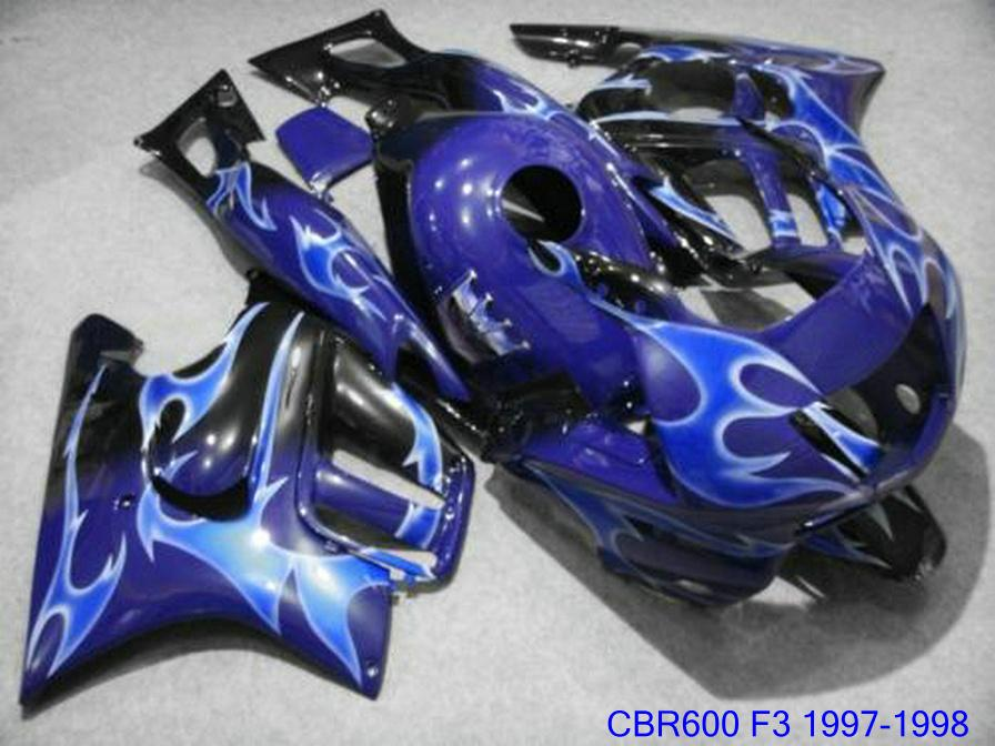 Hot sale bodywork for Honda CBR 600 F3 fairing kit 1997 1998 blue white CBR600F3 fairings CBR600 F3 95 96 VG65