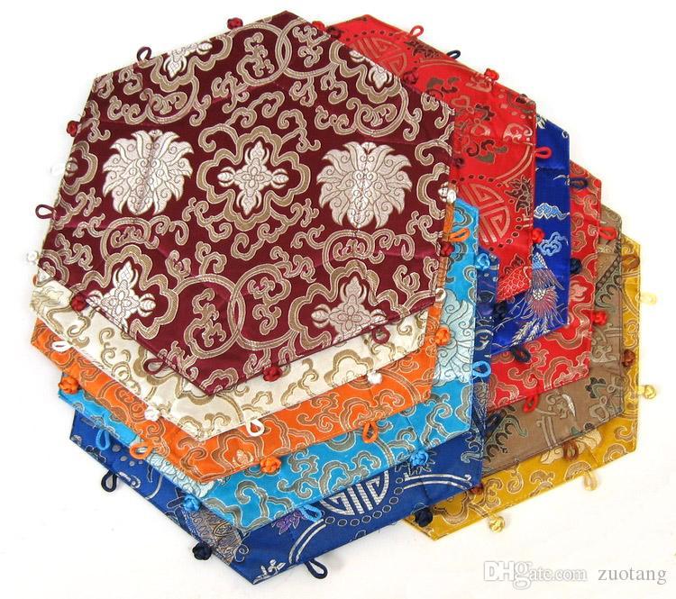 Hexagone Pliable Fruit De Bonbons Boîte De Stockage De style Chinois Soie Brocade Artisanat Bibelot Général cargo paniers De Rangement Diamètre