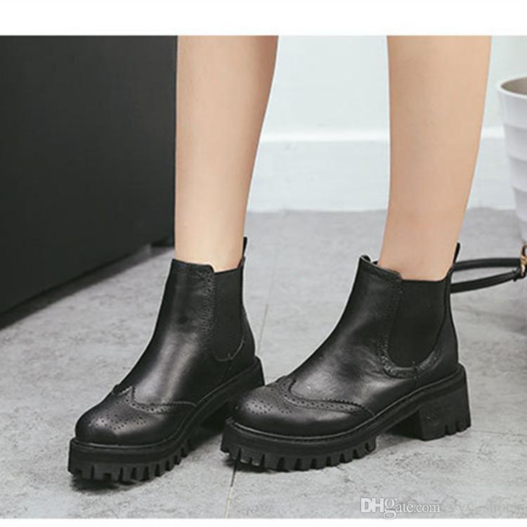 Scarpe basse da donna con tacco basso Scarpe da donna Scarpe da donna con stivaletti alla caviglia Stivali freddi Martin Tacco spesso Spedizione