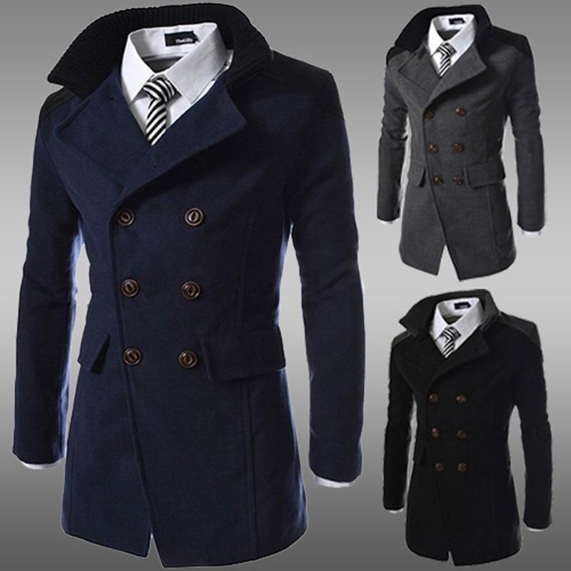 2018 Men Jacket Coat Slim Fit Men Casual Trench Coat Mens Winter ...