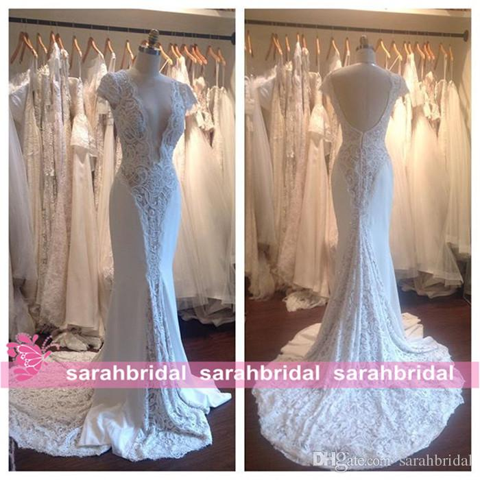 2016 Fall Winter Wedding Dresses Sexy Sheer V-Neck Cap Sleeve Lace Mermaid Bridal Gowns Court Train Backless Plus Size Wedding dressess XG