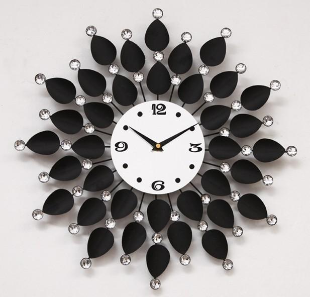 A024 Wrought Iron Metal Sunflowers Flowers Wall Clock Times Quartz Watch The Home Decoration Fashion New Art Design Unique Designs