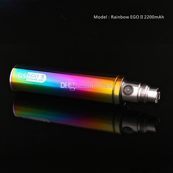Rainbow EGO II 2200mah battery GS Ego II Battery Huge Capacity KGO ONE WEEK EGO T Battery for CE4 MT3 Evod T3S E Cig Vaporizer Atomizer