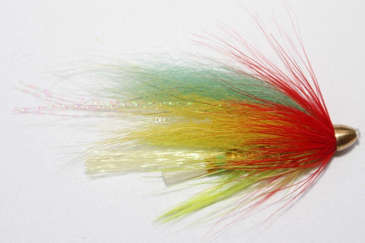 Tigofly 24 шт. / Лот YellowGreen Трубка с конусообразной головкой из перьев Fly Streamer Fly Лососевая форель Steelhead Fly Fishing Flys Приманки