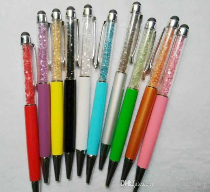 Penna a sfera di stilo capacitivo Penna da 5,7 pollici Diamond Crystal 2 in 1 Touch Screen Strass Scrittura il telefono cellulare Tablet PC /