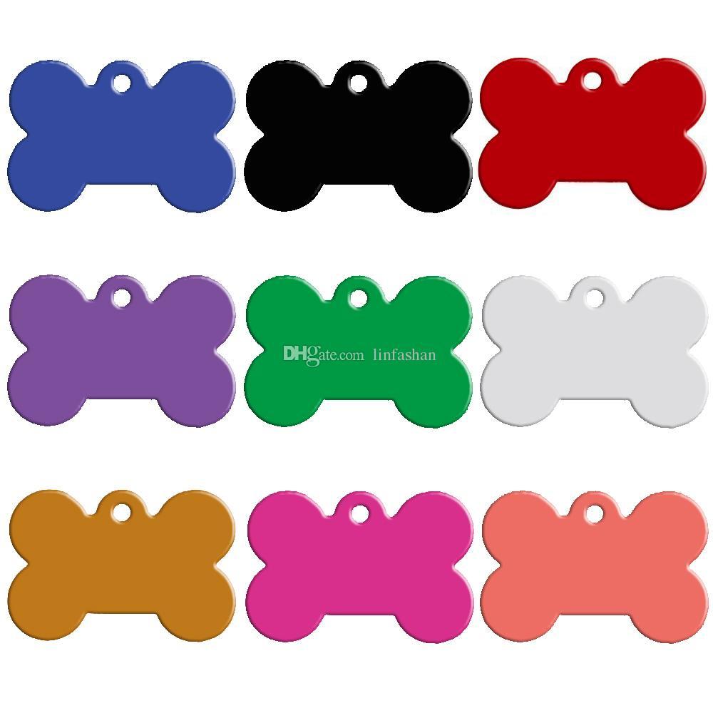 100 pz / lotto Colori Misti Doppi Lati a forma di Osso Personalizzato Tag ID Cane Gatto Personalizzato Nome Pet Telefono No. Non offrite Servizio Incisione