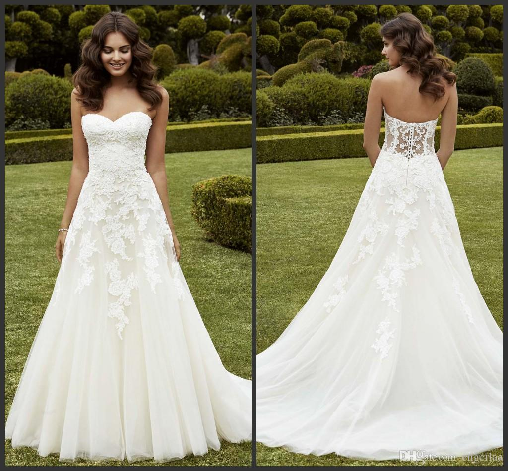 Discount simply a line wedding dresses strapless for Wedding dress for sale cheap