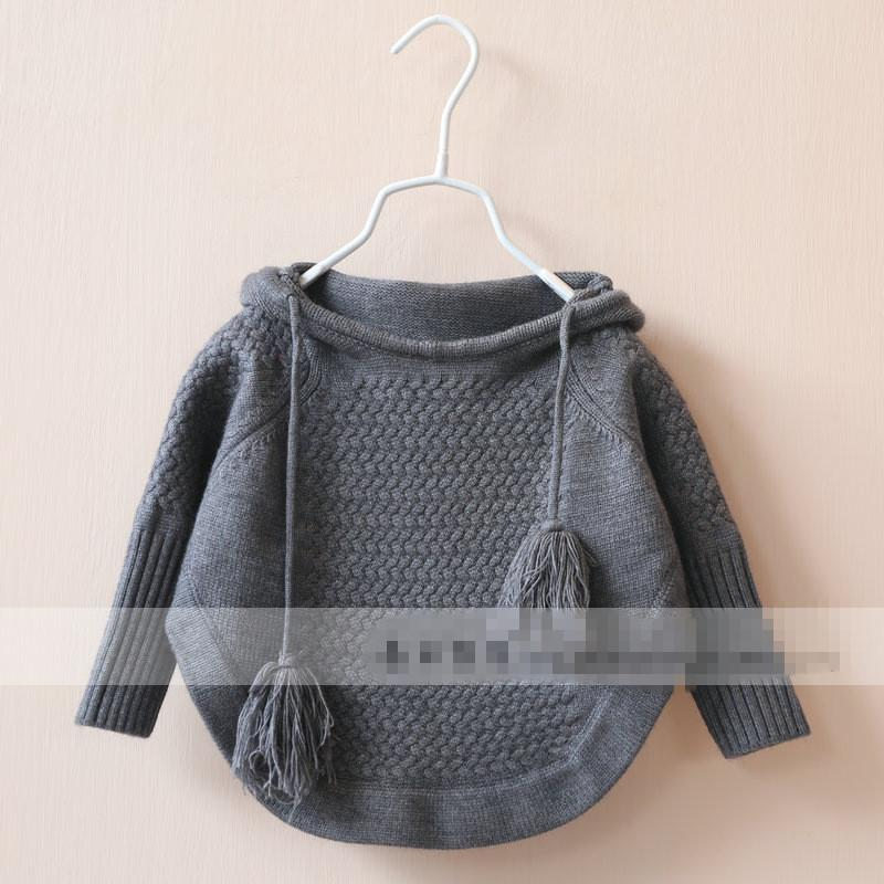 2015 Kids Girls Knit Hooded Sweaters Baby Girl Fall Batwing Pullover