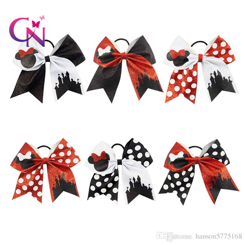 2018 Fashion Glitter Cheer Bow con cola de caballo Cartoon para Cheerleading Girl Teens Mouise Cheelearder Arcos de pelo