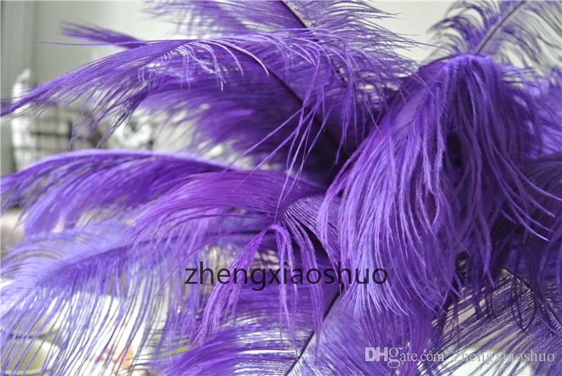 도매 무료 배송 / 12-14inch PURPLE 웨딩 테이블 중심 이벤트 공급 장식에 대한 깃털