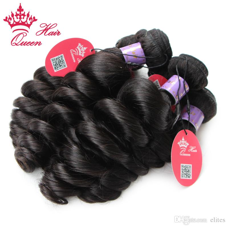 Queen Hair Unprocessed Malaysian Virgin Loose Wave Human Hair Extensions Natural Color Hair Weave