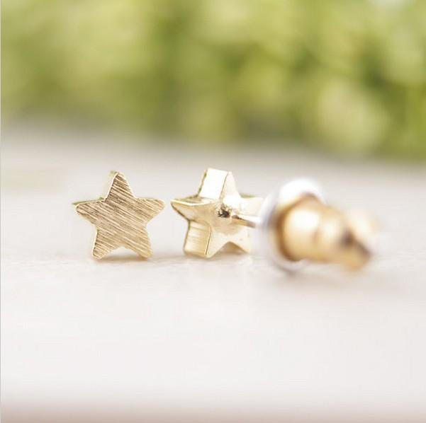 2018 Fashion Five Pointed Star Earring Wire Drawing Surface Stud ...