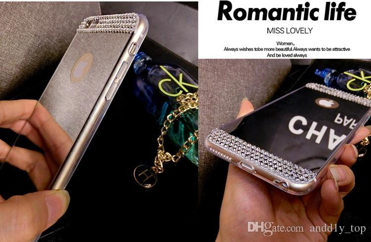 Note5 Bling Diamond Electroplate Acrylic Mirror Soft TPU Bumper Case Cover For iPhone 5 5S 6 Plus Samsung Galaxy S6 Edge A5 A7 S5 Note
