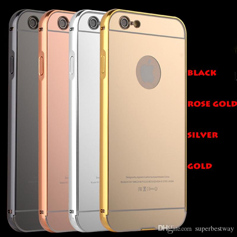 For iPhone7 7plus Metal Aluminum Frame Bumper Cases iPhone 5 6 6plus Mirror Back Covers Protector Skins Cases With OPP Bag DHL Free SCA061