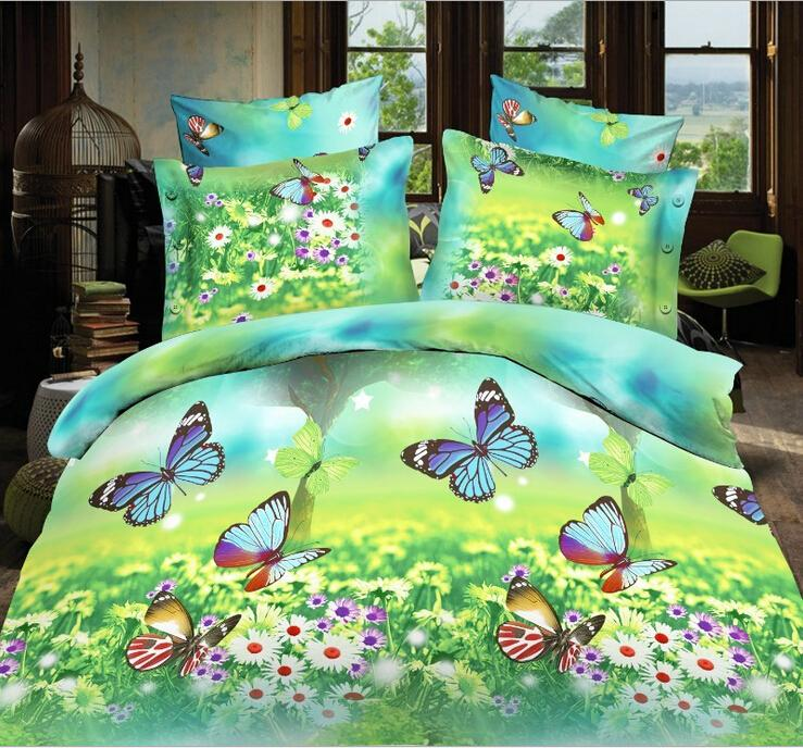luxury 3d butterfly bedding set queen king size cotton 4pcs covers bed sheet bedclothes set bedding supplies