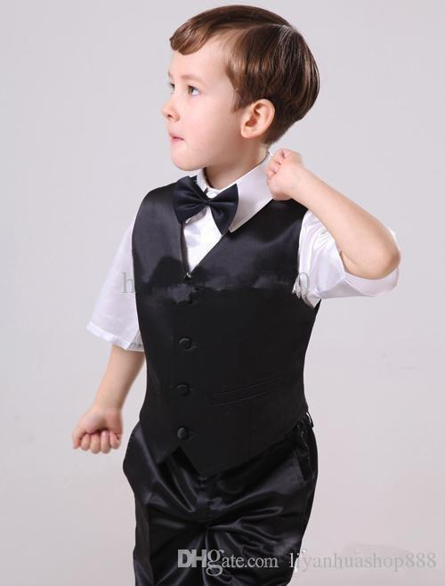 2015 Boy's Formal Wear Suits Notch Lapel Baby Kids Formal Occasion Wedding Party Children Tuxedos Jacket+Pants+Tie+Vest