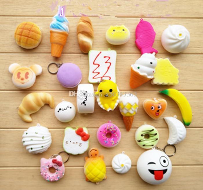 Squishy Simulation PU-Brotkuchen Donut Phone Straps Langsam steigende Squishies Regenbogen Konfekt Eis Telefonschlüssel Anhänger